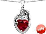 Original Star K™ Large Loving Mother Father With Child Family Pendant With 12mm Heart Created Ruby style: 303687