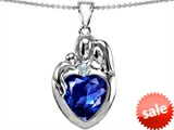 Original Star K™ Large Loving Mother Father With Child Family Pendant With 12mm Heart Created Sapphire