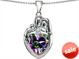 Original Star K™ Large Loving Mother Father With Child Family Pendant with 12mm Heart Shape Mystic Topaz style: 303689