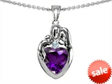 Original Star K™ Loving Mother And Father With Child Family Pendant With Heart Shape 8mm Genuine Amethyst