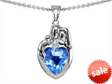 Original Star K™ Loving Mother And Father With Child Family Pendant With 8mm Genuine Heart Shape Blue Topaz style: 303692