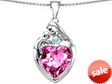 Original Star K™ Large Loving Mother With Child Family Pendant with 12mm Heart Created Pink Sapphire