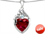 Original Star K™ Large Loving Mother With Child Family Pendant With 12mm Heart Created Ruby style: 303701