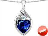 Original Star K™ Large Loving Mother With Child Family Pendant With 12mm Heart Created Sapphire style: 303702