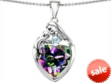 Original Star K™ Large Loving Mother With Child Family Pendant with 12mm Heart Shape Mystic Topaz