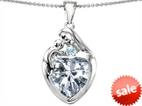 Original Star K™ Large Loving Mother With Child Family Pendant with Genuine 12mm Heart White Topaz