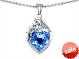 Original Star K™ Loving Mother With Child Family Pendant With Genuine 8mm Heart Shape Blue Topaz