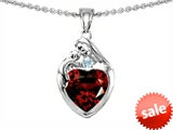 Original Star K™ Loving Mother With Child Family Pendant With Genuine 8mm Heart Shape Garnet