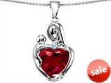 Original Star K™ Large Loving Mother With Child Pendant With 12mm Heart Shape Created Ruby