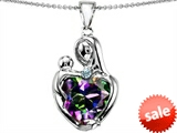 Original Star K™ Large Loving Mother With Child Pendant 12mm Heart Shape Mystic Rainbow Topaz style: 303717