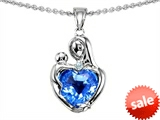 Original Star K™ Loving Mother With Child Hugging Pendant With Genuine 8mm Heart Shape Blue Topaz style: 303720