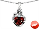 Original Star K™ Loving Mother With Child Hugging Pendant With 8mm Genuine Heart Shape Garnet