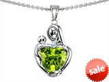 Original Star K™ Loving Mother With Child Hugging Pendant With Genuine Heart Shape 8mm Peridot