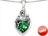 Original Star K™ Large Loving Mother Twin Children Pendant With Simulated 12mm Heart Shape Emerald style: 303725