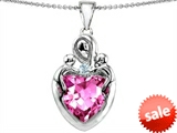 Original Star K™ Large Loving Mother Twin Childres Pendant with 12mm Heart Created Pink Sapphire