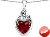 Original Star K™ Large Loving Mother Twin Children Pendant With 12mm Heart Created Ruby style: 303729