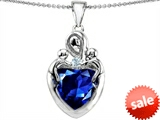 Original Star K™ Large Loving Mother Twin Children Pendant With 12mm Heart Created Sapphire