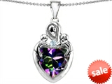 Original Star K™ Large Loving Mother Twin Children Pendant with 12mm Heart Mystic RainbowTopaz