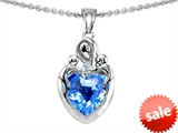 Original Star K™ Loving Mother Twin Children Pendant With Genuine 8mm Heart Shape Blue Topaz style: 303734