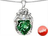 Original Star K™ Large Loving Mother Twins Family Pendant with 12mm Heart Shape Simulated Emerald style: 303739