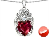 Original Star K™ Large Loving Mother Twins Family Pendant With 12mm Heart Shape Created Ruby