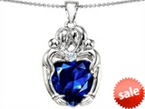 Original Star K™ Large Loving Mother Twins Family Pendant With 12mm Heart Shape Created Sapphire style: 303744
