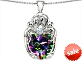 Original Star K™ Large Loving Mother Twins Family Pendant with 12mm Heart Shape Mystic Topaz