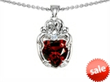 Original Star K™ Loving Mother And Twins Family Pendant With Genuine 8mm Heart Shape Garnet style: 303750
