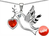 Original Star K™ Peace Love Dove Pendant with Heart Shape 7mm Simulated Orange Mexican Fire Opal style: 303760