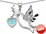 Original Star K™ Peace Love Dove Pendant with 7mm Heart Shape Created Opal style: 303761