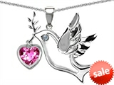 Original Star K™ Peace Love Dove Pendant with Heart Shape 7mm Created Pink Sapphire