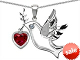 Original Star K™ Peace Love Dove Pendant with Heart Shape 7mm Created Ruby