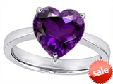 Original Star K™ Large 10mm Heart Shape Solitaire Engagement Ring With Simulated Amethyst