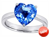 Original Star K™ Large 10mm Heart Shape Solitaire Engagement Ring With Simulated Blue Topaz
