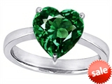 Original Star K™ Large 10mm Heart Shape Solitaire Engagement Ring with Simulated Emerald