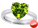 Original Star K™ Large 10mm Heart Shape Solitaire Engagement Ring With Simulated Peridot style: 303789