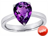 Original Star K™ Large 11x8 Pear Shape Solitaire Engagement Ring With Simulated Amethyst