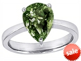 Original Star K™ Large 11x8 Pear Shape Solitaire Engagement Ring with Simulated Green Sapphire style: 303796