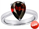 Original Star K™ Large 11x8 Pear Shape Solitaire Engagement Ring With Simulated Garnet