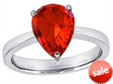 Original Star K™ Large 11x8 Pear Shape Solitaire Engagement Ring with Simulated Orange Mexican Fire Opal style: 303798
