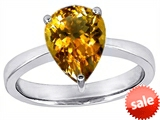 Original Star K™ Large 11x8 Pear Shape Solitaire Engagement Ring With Simulated Citrine