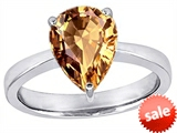 Original Star K™ Large 11x8 Pear Shape Solitaire Engagement Ring With Simulated Imperial Yellow Topa style: 303801