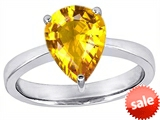 Original Star K™ Large 11x8 Pear Shape Solitaire Engagement Ring with Simulated Yellow Sapphire
