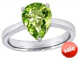 Original Star K™ Large 11x8 Pear Shape Solitaire Engagement Ring With Simulated Peridot style: 303804