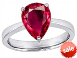 Original Star K™ Large 11x8 Pear Shape Solitaire Engagement Ring with Created Ruby
