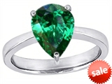 Original Star K™ Large 11x8 Pear Shape Solitaire Engagement Ring with Simulated Emerald