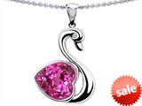 Original Star K™ Large Love Swan Pendant With 8mm Heart Shape Created Pink Sapphire style: 303836