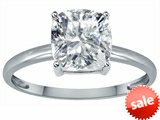 Tommaso Design™ Genuine White Topaz 7mm Cushion Cut Solitaire Engagement Ring
