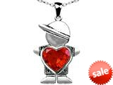Original Star K™ Little Boy Holding 8mm Heart Mother Birthstone Pendant with Simulated Mexican Fire Opal