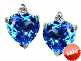 Original Star K™ 7mm Heart Shape Genuine Blue Topaz Earrings